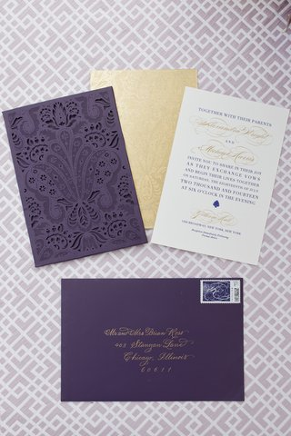 alethia-and-erik-wedding-invitation-by-ceci-new-york-damask-laser-cut-sleeve-gold-and-purple