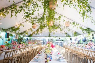 elegant-rehearsal-dinner-with-natural-decor-tented-rehearsal-dinner-with-greenery-and-basket-lights
