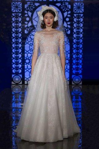 reem-acra-bridal-fall-2016-a-line-wedding-dress-with-sheer-three-quarter-sleeve-bodice