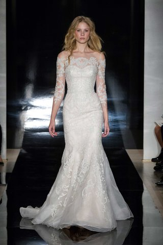 reem-acra-spring-2017-off-the-shoulder-wedding-dress-with-lace-three-quarter-sleeves