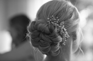 black-and-white-photo-of-braided-bun-hairstyle