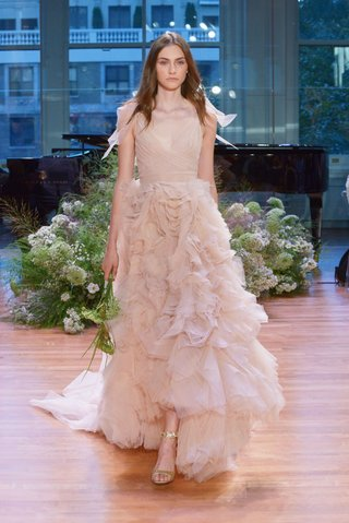 monique-lhuillier-fall-2017-bridal-collection-ballad-blush-v-neck-ruffle-skirt-high-low-dress