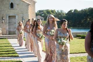 wedding-at-houston-oaks-country-club-outdoor-ceremony-bridesmaids-in-sequin-metallic-gowns-rustic