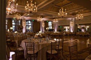 chandeliers-and-gobo-light-names-on-dance-floor-round-tables-pretty-ballroom-wedding-casa-del-mar