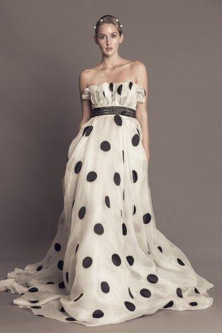 francesca-miranda-fall-2016-black-and-white-polka-dot-wedding-dress-with-strapless-neckline