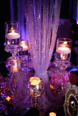 wedding-reception-glam-luxe-decor-crystal-details-floating-candles-glass-candlesticks-gold-votives