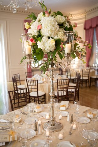 silver-candelabra-wedding-centerpiece-with-hydrangea-and-rose