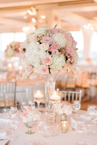 wedding-reception-classic-decor-tall-pink-and-white-flower-arrangement-rose-hydrangea-gold-candles