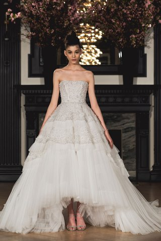 ines-di-santo-spring-2019-bridal-collection-wedding-dress-taylor-strapless-high-low-ball-gown-ruffle