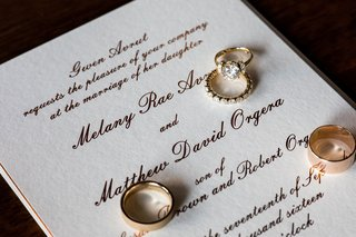 rose-gold-gold-wedding-band-wedding-rings-on-calligraphy-invitation