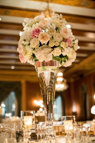 blush-garden-roses-white-hydrangeas-large-fluted-vase