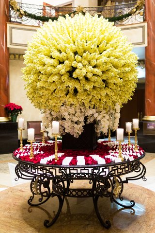 spherical-display-of-ivory-flowers-and-orchids-escort-cards-on-bed-of-red-rose-petals