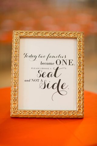 ceremony-sign-telling-guests-to-seat-on-either-side