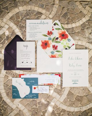 a-couples-colorful-invitation-suite-featuring-red-blue-green-and-purple-design-calligraphy