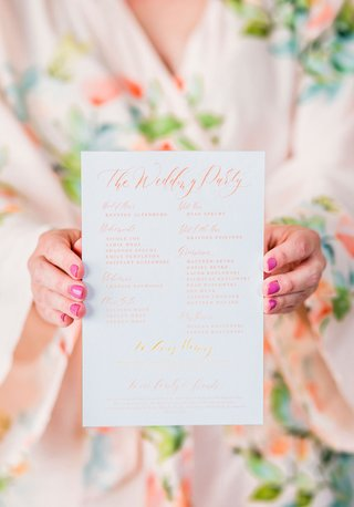 ombre-wedding-ceremony-program-calligraphy-orange-peach-yellow-pink-script-flower-print-robe