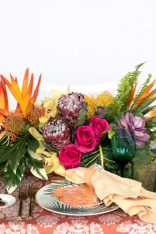 wedding-reception-styled-shoot-tropical-theme-protea-flowers-roses-cabbage-bird-of-paradise
