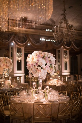 wedding-reception-at-the-pierre-new-york-glass-centerpiece-pink-rose-white-orchid-tulip-glassware