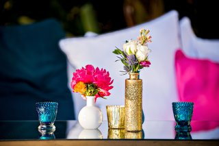 gold-glitter-blue-and-white-vases-and-candle-votives