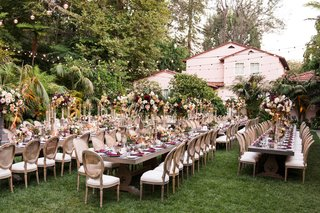 wedding-reception-hotel-bel-air-long-wood-tables-fall-inspired-centerpiece-flower-arrangements