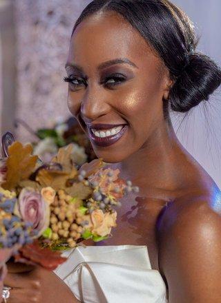 dark-lips-eye-makeup-bridal-beauty-look-wedding-day-darker-skin-fall-styled-shoot-bouquet-bun-hair