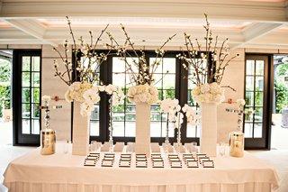 cherry-blossom-branch-white-orchid-white-hydrangea-escort-card-table