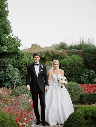 bride-in-martina-liana-ball-gown-groom-in-tuxedo-bride-and-groom-in-garden-garden-wedding