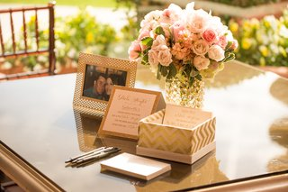 wedding-shower-with-cards-for-guests-to-write-date-night-ideas-for-newlyweds-gold-white-box