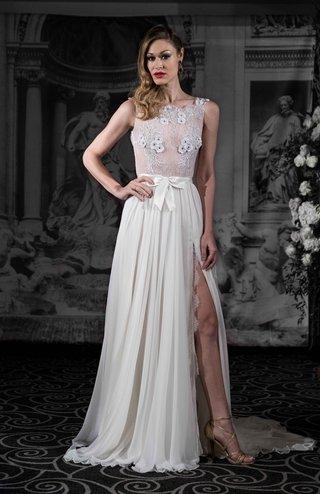 sarah-jassir-la-dolce-vita-2016-sheer-wedding-dress-and-chiffon-skirt-with-slit-and-bow-belt