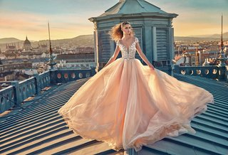gala-by-galia-lahav-2016-pink-wedding-dress-skirt-and-illusion-cap-sleeve-bodice
