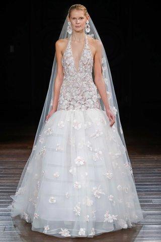 naeem-khan-bridal-spring-2017-amalfi-v-neck-halter-wedding-dress-drop-waist-flower-details