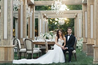 jillian-murray-and-dean-geyer-wedding-actors-tuxedo-berta-dress-outdoor-wedding-wood-greenery