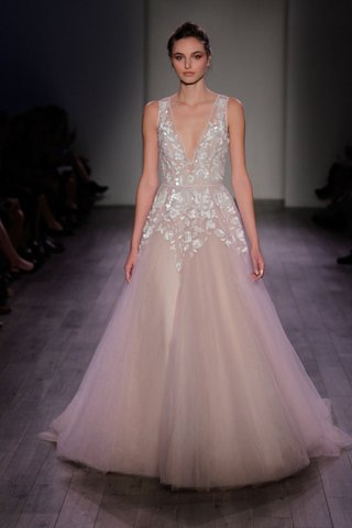 hayley-paige-2016-tank-wedding-dress-with-deep-v-neck-and-blush-a-line-skirt