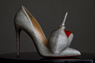 wedding-rings-on-heel-of-christian-louboutin-pumps-silver-metallic-red-bottom-sole-shoes-wedding