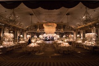 wedding-reception-ballroom-at-the-pierre-white-pink-flowers-chandeliers-floral-chandelier