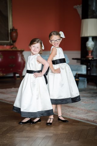 flower-girls-black-white-dresses-trim-cute-sassy-wedding-southern-black-shoes