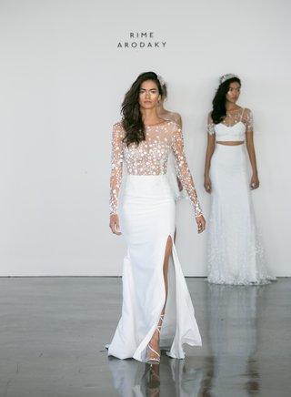 rime-arodaky-fall-2017-bridal-blair-sheer-long-sleeve-embroidered-bodice-with-high-waist-crepe-skirt