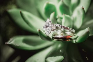 marquis-diamond-engagement-ring-on-green-succulent-plant