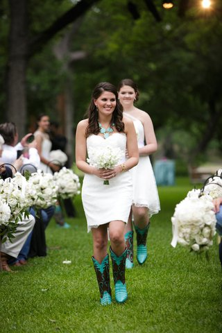 bridesmaids-in-nardos-imam-strapless-gown-and-turquoise-and-brown-cowboy-boots