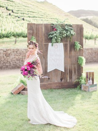 bride-boho-vibe-beaded-gown-california-boho-chic-wedding-styled-shoot-bright-bouquet-malibu-flower