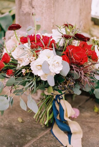 beauty-beast-movie-styled-wedding-shoot-red-white-green-bouquet-ribbons-utah-fairy-tale-inspiration