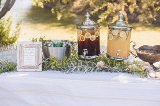 silver-clear-dispensers-of-lemonade-iced-tea-bucket-of-pellegrino-calligraphy-sign-laura-hooper
