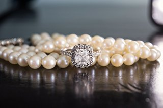 pearl-necklace-bracelet-with-pave-wedding-ring-halo-engagement-ring-cushion-cut-diamond