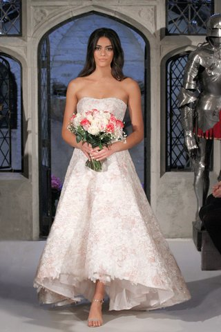 oleg-cassini-spring-2018-wedding-dress-strapless-high-low-flower-print-wedding-dress-floral-hem