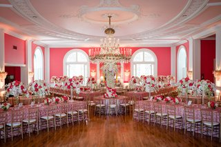 pink-reception-space-long-tables-tall-florals-chandeliers-sequin-linens-greenbrier-southern-venue