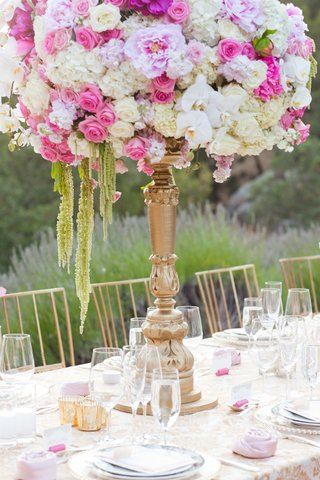 outdoor-wedding-reception-with-white-pink-lavender-hydrangeas-roses-peonies-orchids-amaranthus