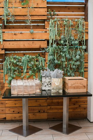 bridal-shower-guest-table-in-front-of-wood-pallet-wall-with-succulents-dripping-down