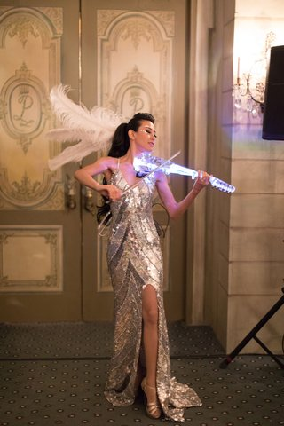wedding-reception-entertainment-silver-sequin-dress-gown-electric-violin-feather-in-hair-decor