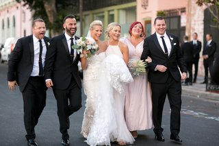 brittany-daniel-actress-with-twin-sister-cynthia-and-husband-adam-touni-and-bridesmaid-groomsman