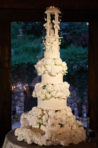 tall-wedding-cake-fresh-flowers-peony-blooms-circle-tier-sentimental-cake-topper-antique-vintage