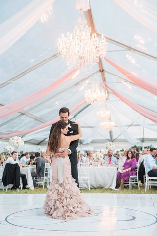 bride-in-blush-vera-wang-mermaid-ruffled-gown-groom-in-black-by-vera-wang-tux-first-dance-tent